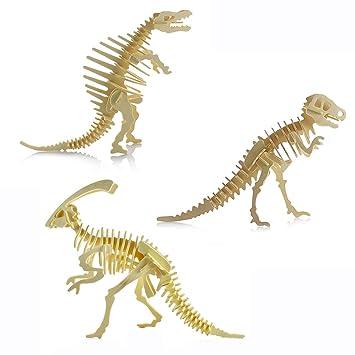 3D rompecabezas de madera-Puzzle 3D dinosaurio niños de juguetes rompecabezas de madera DIY: Amazon.es: Juguetes y juegos