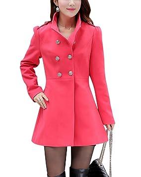 Yonglan Mujeres Medio Largo Moda Abrigo de Lana Doble Filas de Botones Chaqueta mezclada de Lana Sandía roja XS: Amazon.es: Deportes y aire libre
