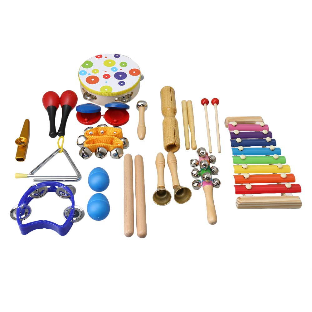 Mxfans 19xKids Musical Instruments for Kids Wooden Music Shakers Percussion Toy