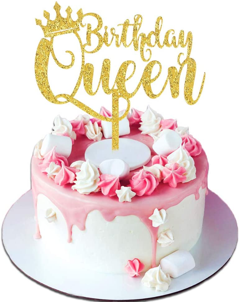 Terrific Amazon Com Palksky Queen Birthday Cake Topper Acrylic Durable Funny Birthday Cards Online Fluifree Goldxyz