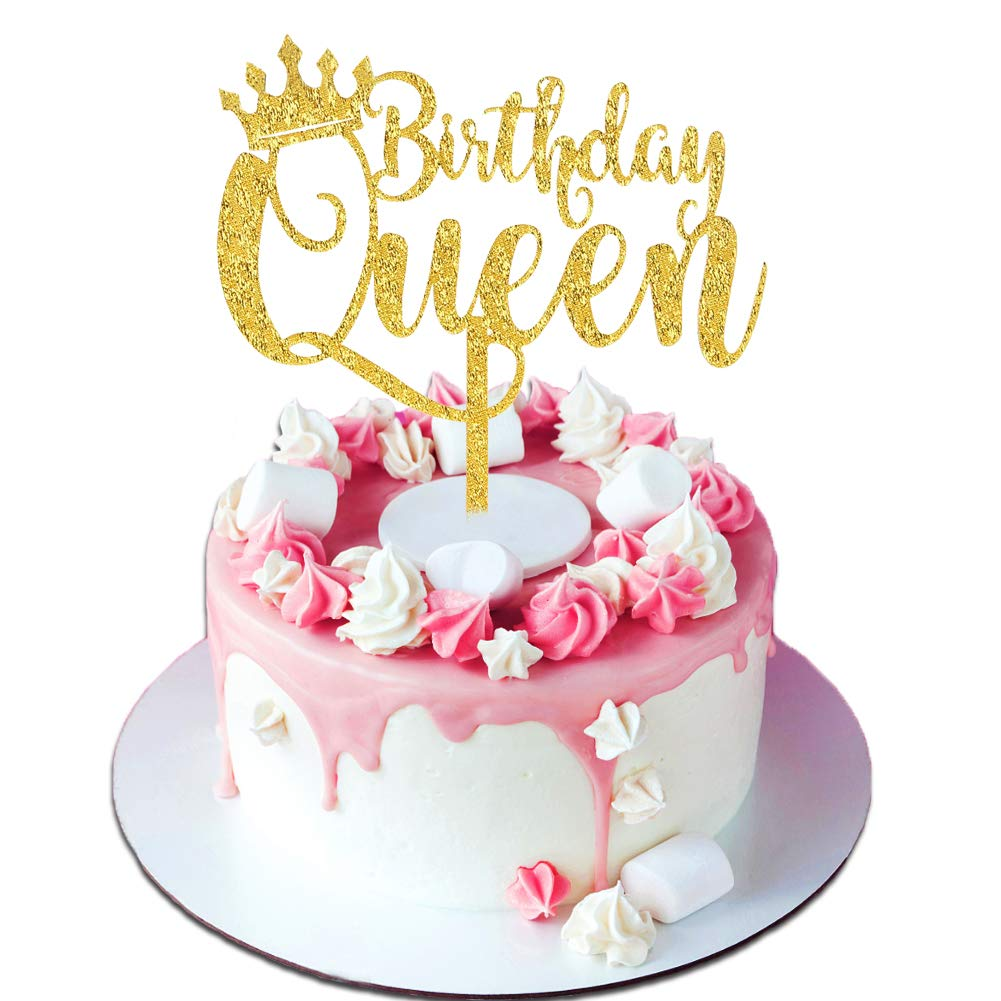 Palksky Queen Birthday Cake Topper Acrylic Durable Gold Glitter Cake ...