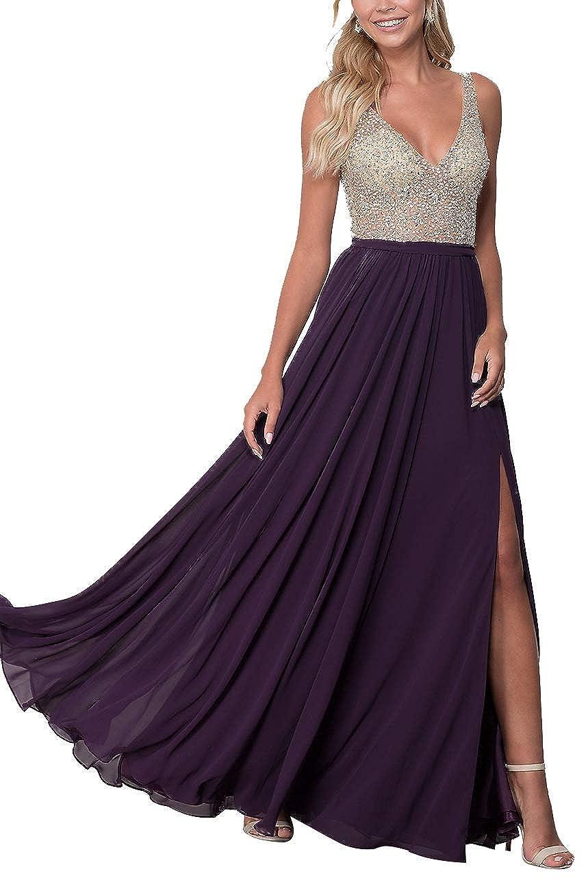 Grape Staypretty Long Prom Gowns VNeck Beaded Formal Backless Evening Dresses for Women High Slit