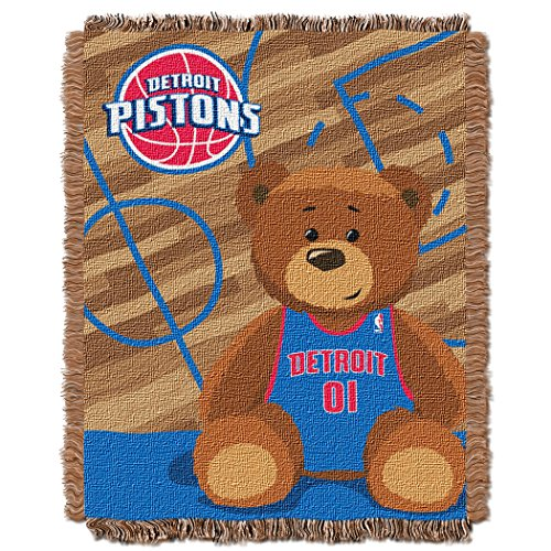 y Officially Licensed NBA Detroit Pistons Half Court Woven Jacquard Baby Throw Blanket, 36