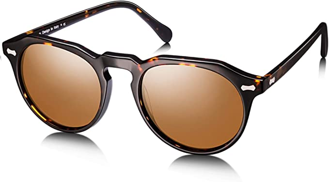 Womens Designer Polarised Oversized Vintage Round Sunglasses UV400 Tortoiseshell