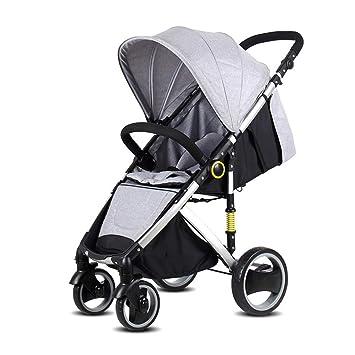 QZX Carrito de bebé Ligero Plegable Rueda Delantera direccional 360 ° Ajuste Continuo del Respaldo Un pie Doble ...