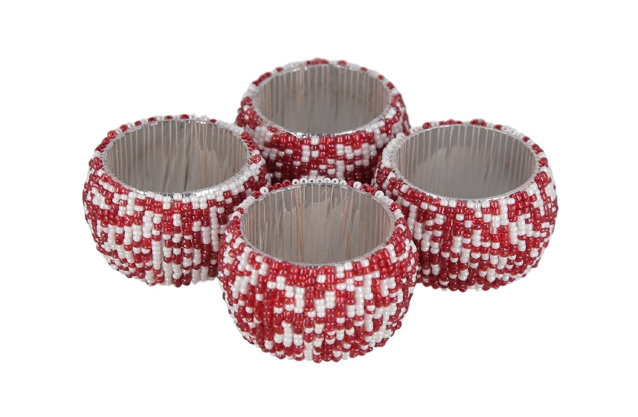 ShalinIndia Handmade Beaded Napkin Rings Set With 6 Amber Yellow Glass Beaded Napkin Holders 1.5 Inch in Size