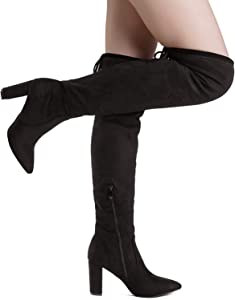 DREAM PAIRS Womens Thigh High Fashion Over The Knee Block Heel Boots