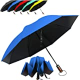 HAILSTORM Folding Reverse Umbrella with UV and UPF50+ Protection - Inverted Windproof Umbrellas with Lightweight Fiberglass Frame - Royal Blue