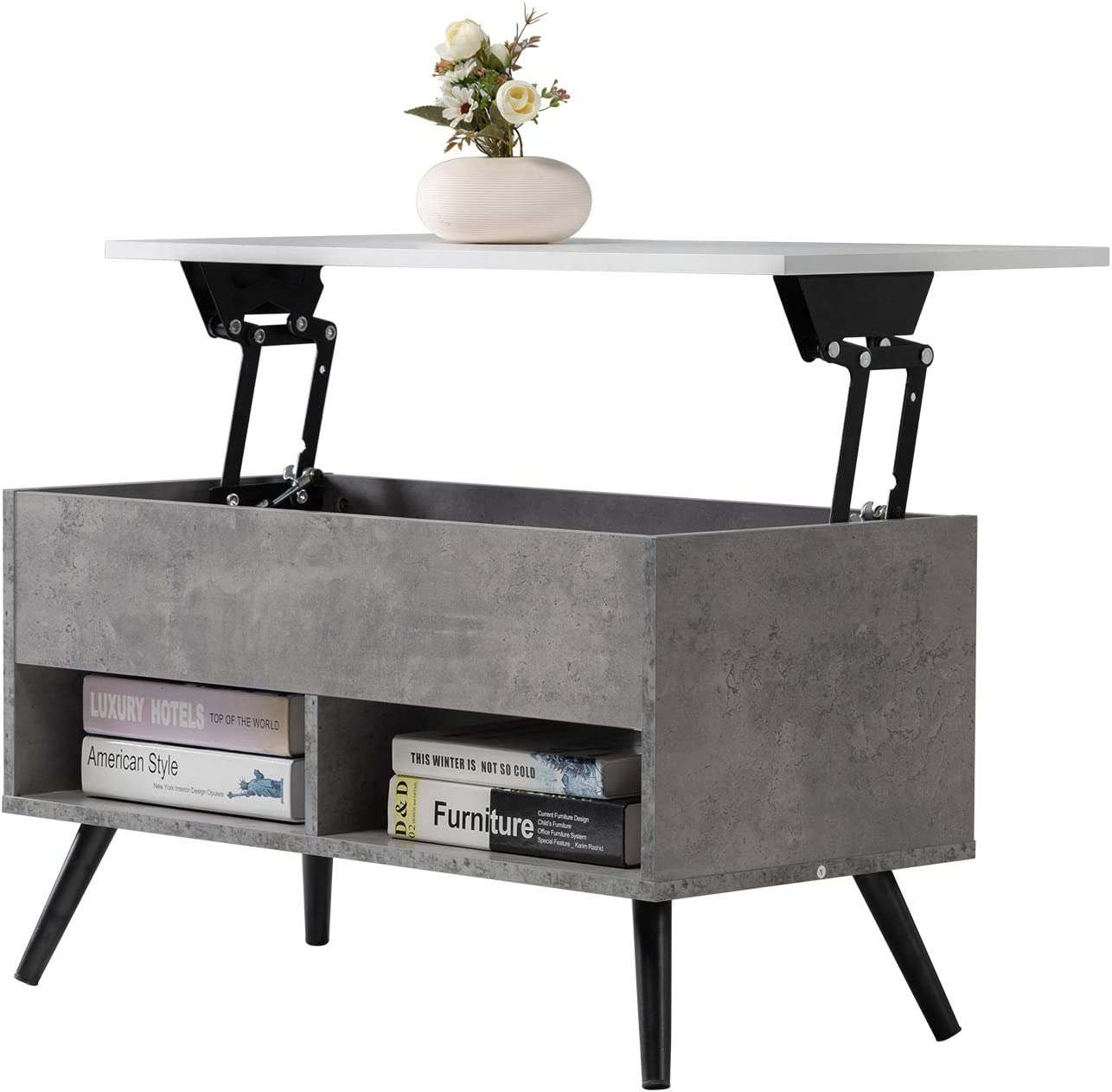 Mcmacros Lift Top Wood Coffee Table Sofa Tea Table With Storage For Living Room Grey Kitchen Dining