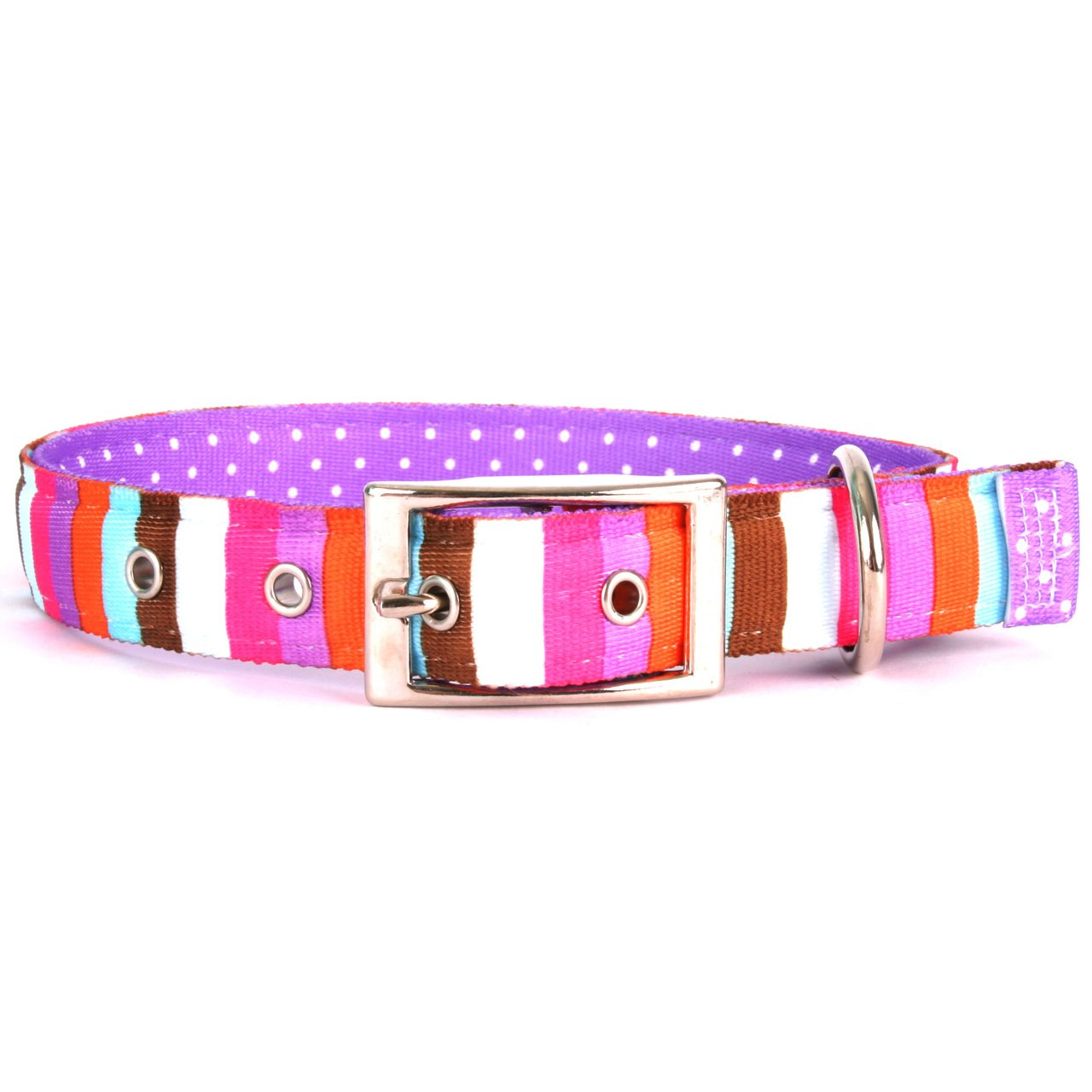 Yellow Dog Design Multi-Stripe Uptown Dog Collar, Medium-1'' Wide and fits Neck Sizes 15 to 18.5''