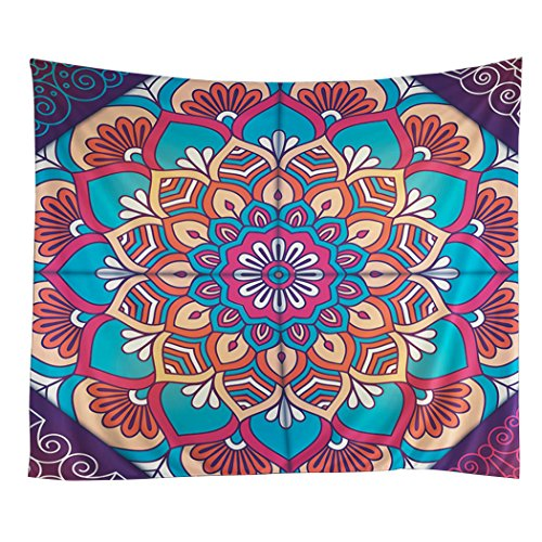 (Tapestry Wall Hanging Mandala Hippie Psychedelic Bohemian Elephant Beach Towel Boho Bedspread Exotic Fantasy Queen Size 59 x 79inches)