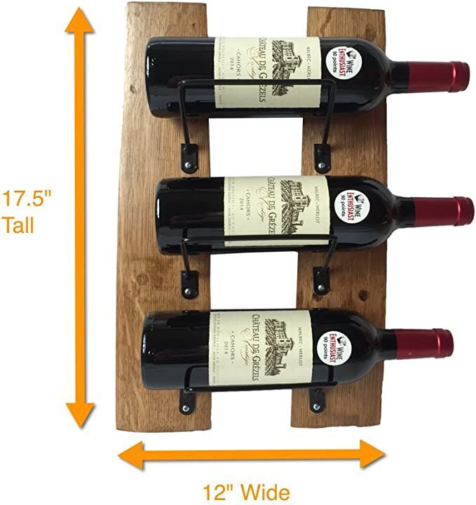 Amazon Com 3 Bottle Wine Rack Handcrafted From Used Wine Barrel Staves Sturdy Wall Mounted Beautifully Rustic 17 5 Height X 12 Width Kitchen Dining