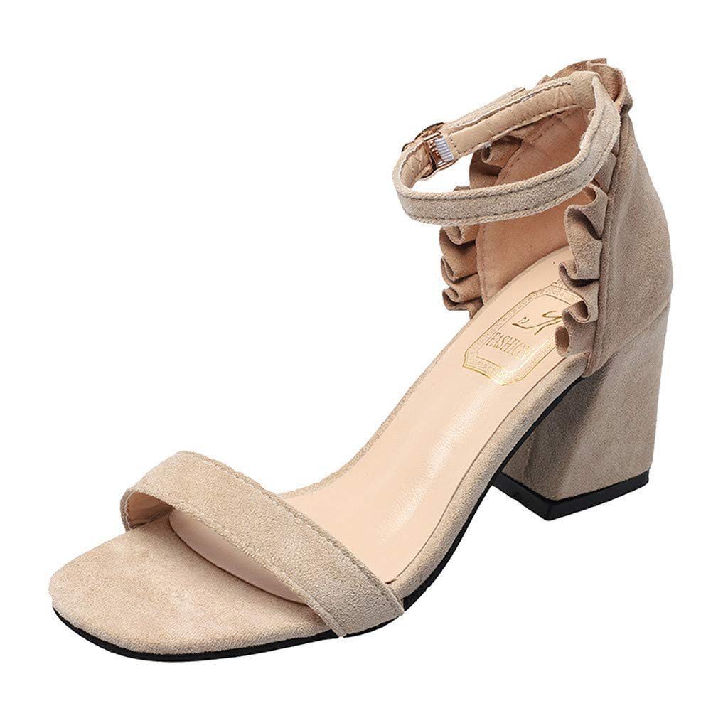Heeled Sandals for Women Ankle Strap,FAPIZI Ladies Chunky Leisure Buckle Non-Slip Thick Mid-Heel Shoes Beige