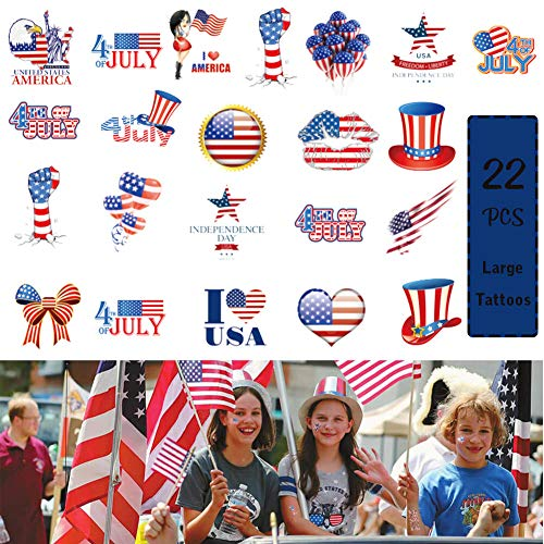 4th of July Temporary Tattoo American Independence Day Tattoo Sticker Festival Party Waterproof Clover Decor]()