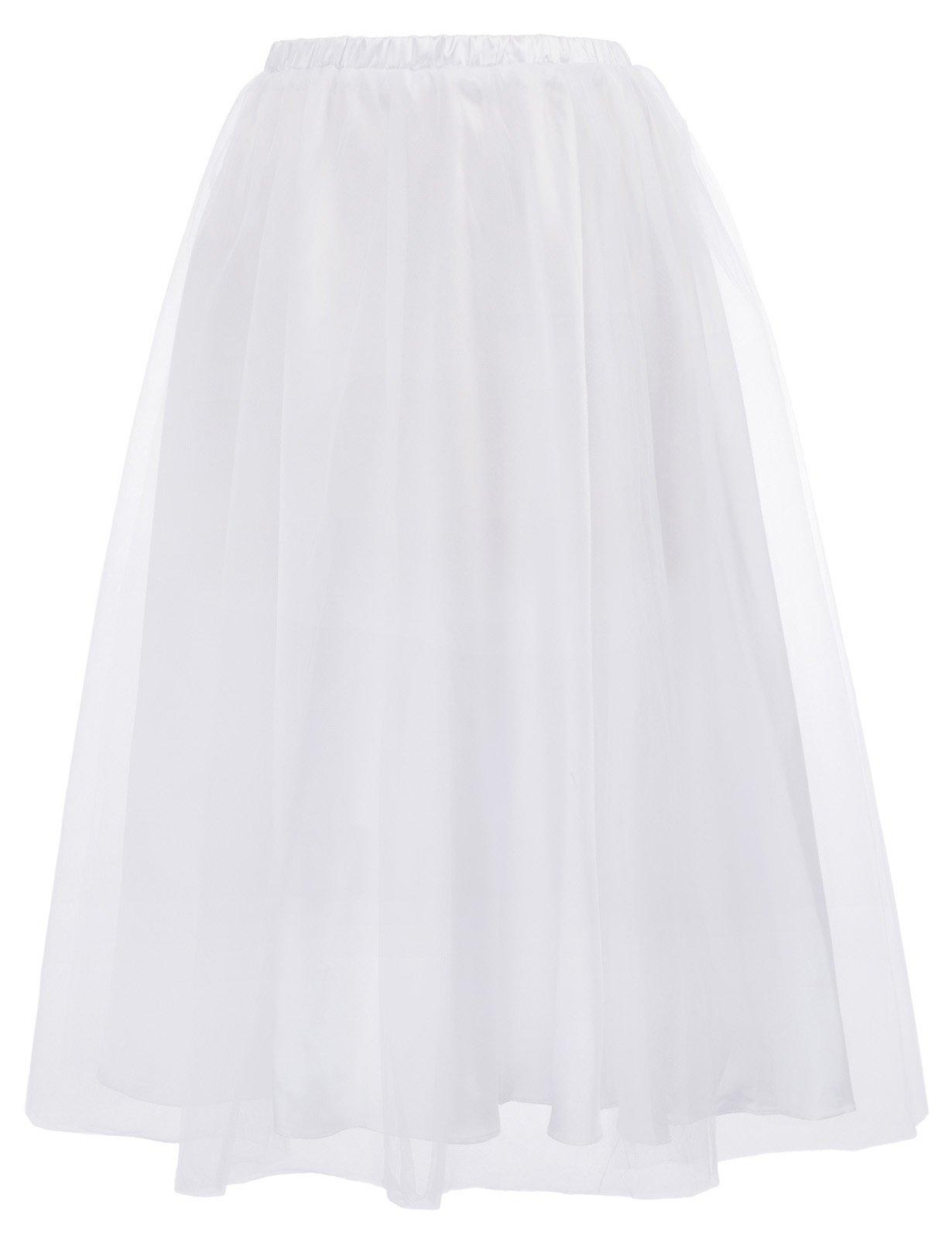 Women's 2-Layer Short A Line Tutu Tulle Prom Princess Midi Dance Skirt BP620-2 L White