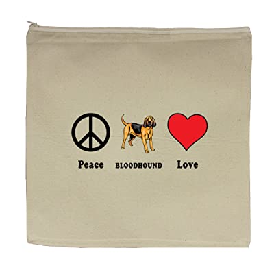 "Canvas Zipper Pouch Tote Bag 5.5""X7.5"" Peace Love Bloodhound Dog Style In Print"