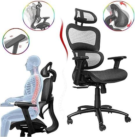 Komene Ergonomic Office Chair Swivel Desk Chair With Breathable Mesh Back Adjustable Headrest Backrest And Armrest Black Amazon De Kuche Haushalt