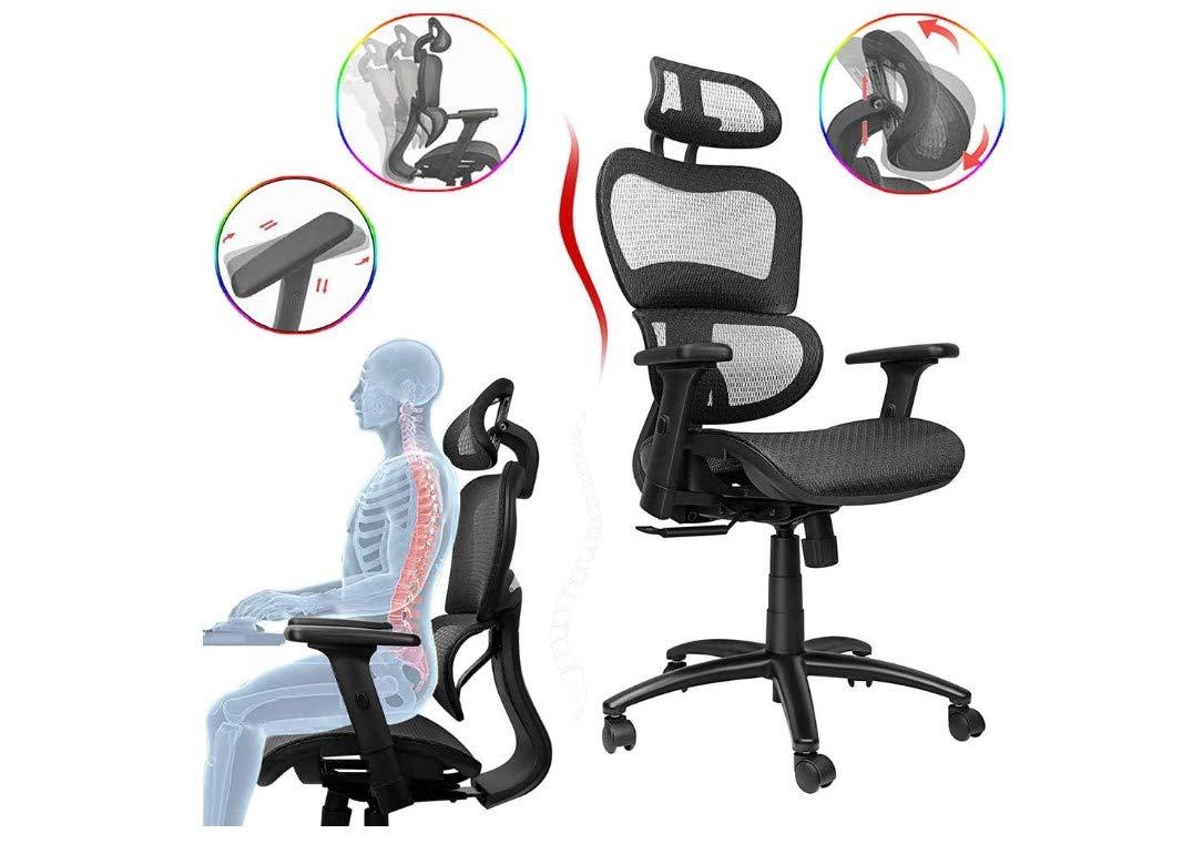 Komene Ergonomiczne krzesło biurowe, obrotowe krzesło biurowe z oddychającym tyłem z siatki, regulowany zagłówek, oparcie i podnoszony podłokietnik, krzesło szefowe