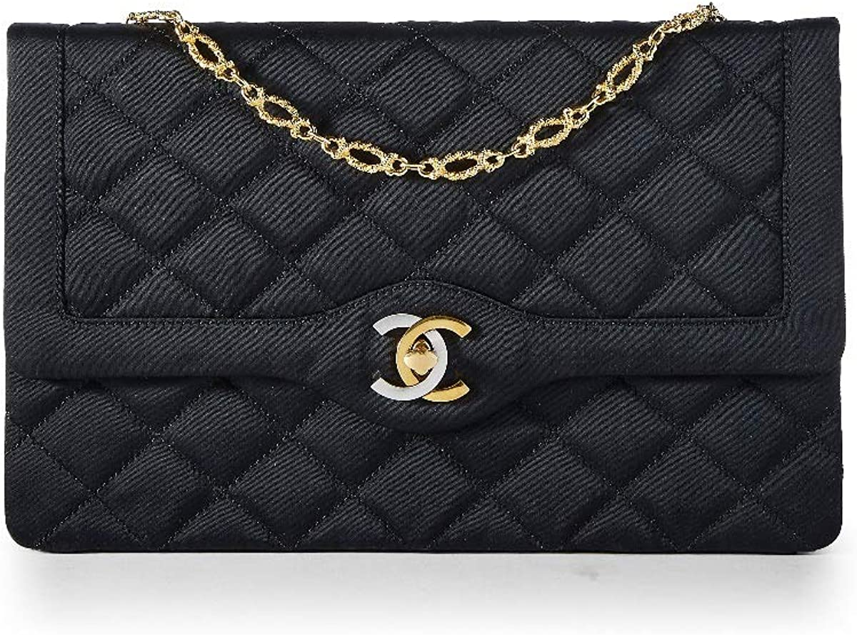 CHANEL Limited Edition Black Quilted Satin Two-Tone Logo Paris Edition Flap Bag (Pre-Owned)