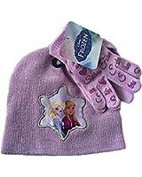 Disney Frozen Elsa and Anna Glitter Knit Cap and Gloves Set