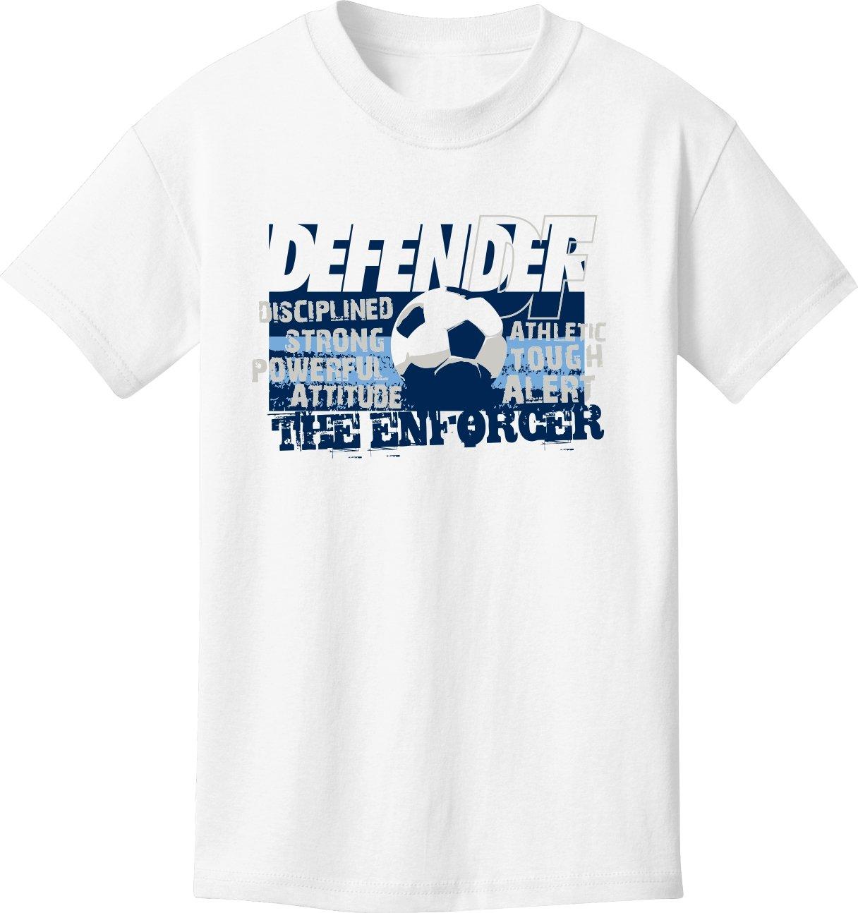 Soccer Tシャツ: Defender – Enforcer Soccer B076M8DQGKホワイト Youth Medium