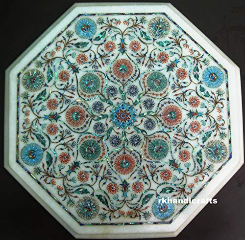 13 Inches White Marble End Table Using Multi Colors Beautiful Stones & Abalone Shell Marquetry Art, for Using Living Room, Bad Room