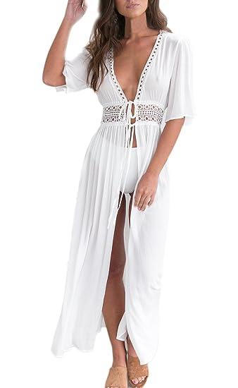 ... Manga Corta V Cuello Gasa Encaje Alto Cintura Playa Vestido Largo Vestidos Camiseros Bikini Cover Up Vestidos Blancos: Amazon.es: Ropa y accesorios