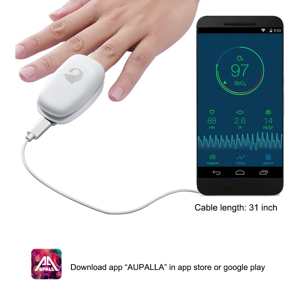 Aupalla Non Battery Smart Fingertip Pulse Oximeter, Monitor Oxygen Saturation SpO2 Pulse Rate Perfusion Index Works iPhone and Android Phones (White)