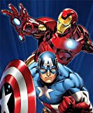 Disney Marvel Avengers Captain America and Iron Man 48x60 Inches Size Royal Plush Blanket - Earth Defenders