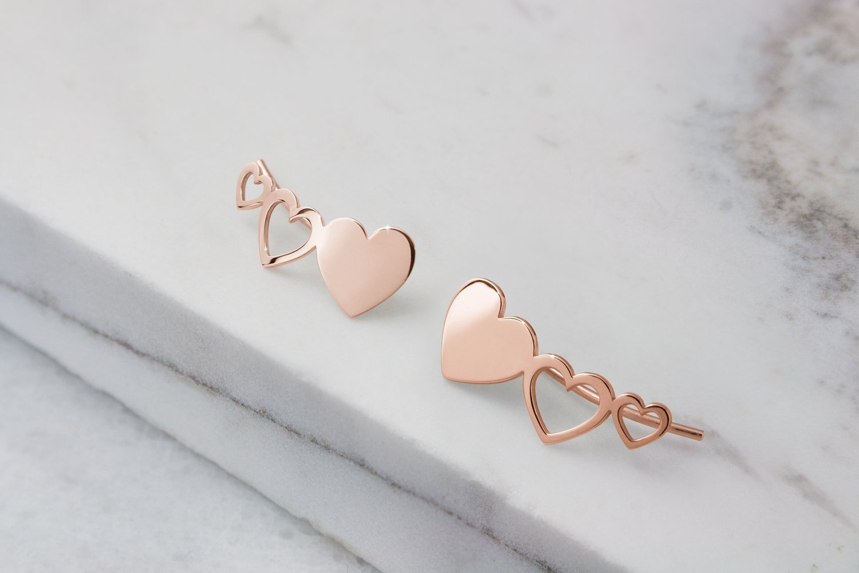 Gold Heart Climber Earrings, 9K, 14K, 18K Gold Earrings, Rose Gold Heart Climbers, Gold Climbers, Gift For Her /code: etg49: 0.002