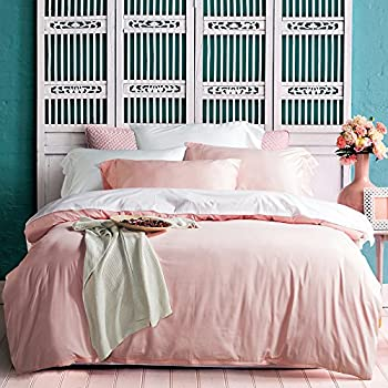 KISS QUEEN Lace Duvet Cover Set Queen Light Pink Super Soft Lightweight Bedding Set Solid Color With Exquisite Flouncing Design(Light pink, Queen)