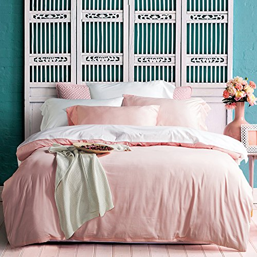 UFO Home 3pc Duvet Cover Set, 600 Thread Count Percale, 100% Egyptian Cotton, Zipper Closure, No Inside Filler or Comforter, Smooth Solid Rose Quartz Color (Full, Rose Quartz-AH) (Cover Duvet Pink Rose)