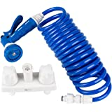 Dura Faucet (DF-SA186-WT) RV Exterior Quick Connect Spray Faucet w/ Coil Hose & Multi Spray Nozzle (White & Blue)