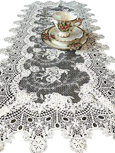Antique Furniture Victorian - Galleria di Giovanni Dresser Scarf Table Runner Victorian English Rose Sheer Lace 35 Inch Vintage Style Doily
