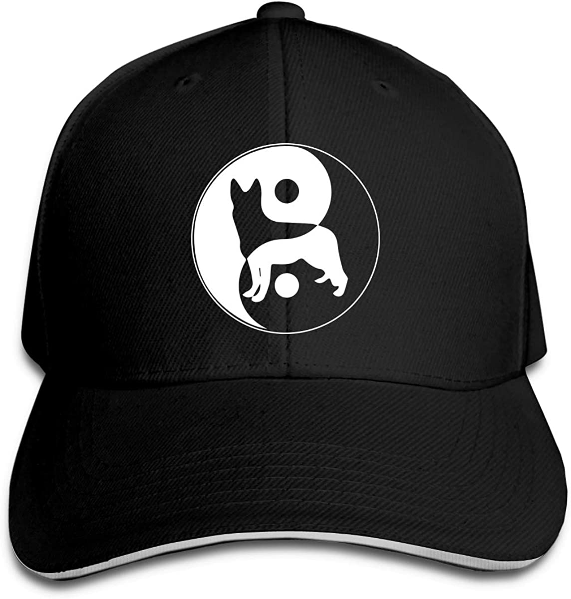 Yin Yang German Shepherd Dog Outdoor Snapback Sandwich Cap Adjustable Baseball Hat Street Rapper Hat