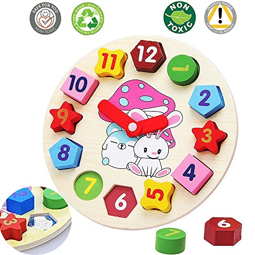 Wooden Blocks Digital Geometry Clock – Baby Kids Early Education Puzzle Set, Learning Colors and Shapes Matching Games Toys Shape Sorting Clock, Children's Educational Toy For Baby Boy And Girl Gift
