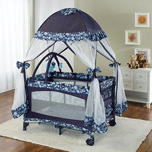 Big Oshi Portable Playard Deluxe Bundle – Nursery Center With Canopy Net Topper – Medium Size – Lightweight, Compact Design, Includes Carry Bag – Perfect for Indoor or Outdoor Backyard Use, Navy
