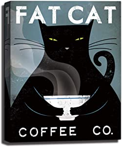 Vintage Black Fat Cat Coffee Co,Hand-Stretched Canvas Wall Art Print Poster,Cats Coffee Shop for Child Room Home Decor 11x14x1.35inch