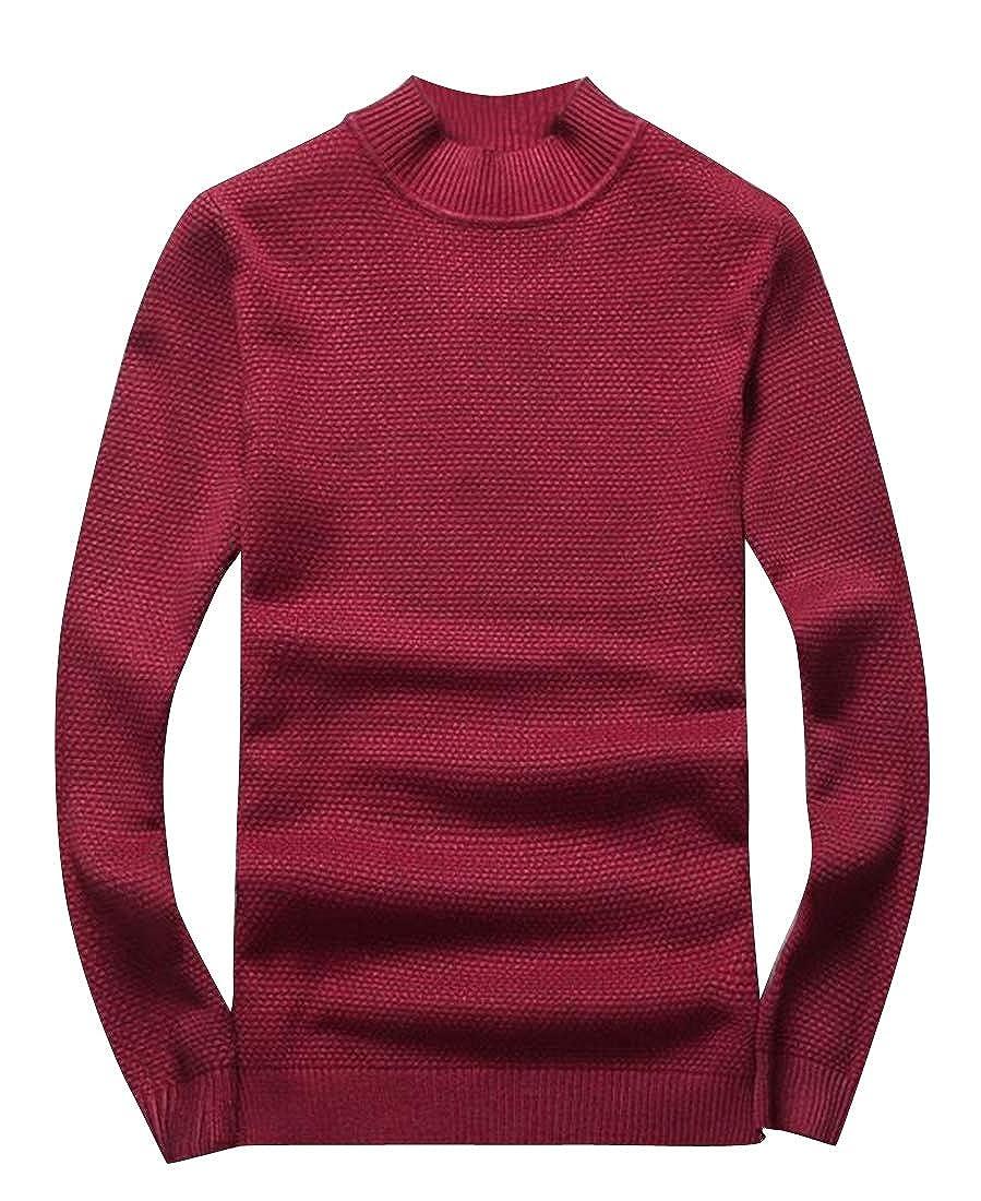 ARTFFEL Mens Winter Warm Regular Fit Plain Knitted Long Sleeve Pullover Sweater