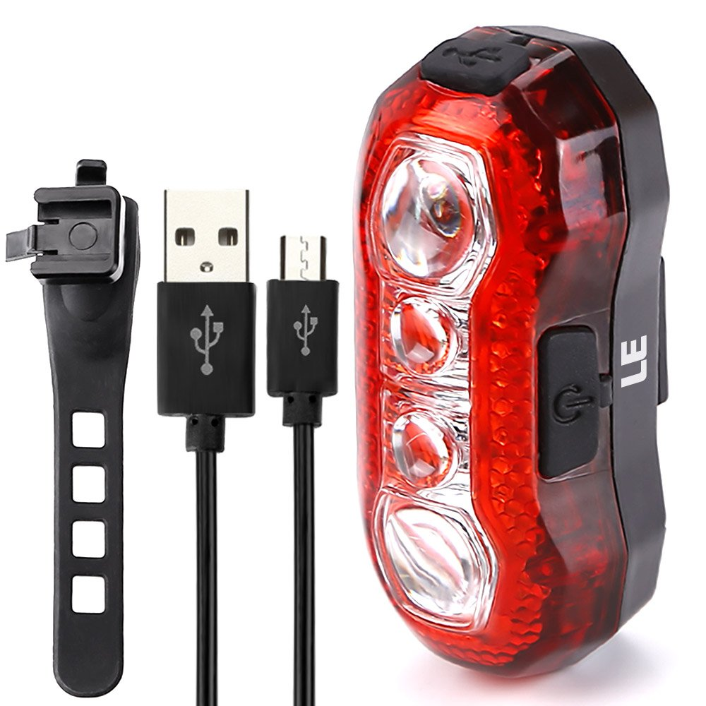 LE USB CREE LED Super Bright Bike Rear Tail Light 5 Lighting Modes Easy Install Red Safety Cycling Light - Fits on Any Bicycles Helmet Backpack by Lighting EVER (Image #1)