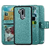 Ymhxcy LG G7 Wallet Case, LG G7 ThinQ Phone Case,PU Leather [9 Card Slots][Detachable][Kickstand] Phone Case & Wrist Lanyard LG G7-PT Mint