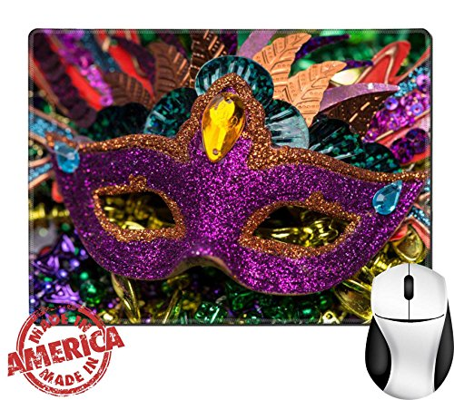 """Price comparison product image Luxlady Natural Rubber Mouse Pad/Mat with Stitched Edges 9.8"""" x 7.9"""" Close up view of purple sequined Mardi Gras mask with colorful beads out focus in the background IMAGE ID 26111610"""