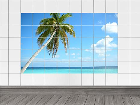 Piastrelle adesivo piastrelle immagine palme con vista mare vacanza