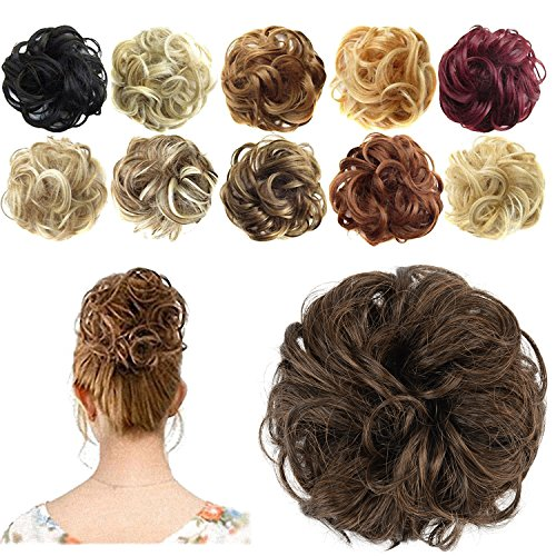 FESHFEN Synthetic Hair Bun Extensions Messy Hair Scrunchies Hair Pieces for Women Hair Donut Updo Ponytail]()