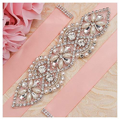 (Yanstar Silver Rhinestone Crystal Pearl Beads Wedding Bridal Belt Sash with Blush Ribbon Sash for Prom)