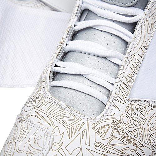 Nike Air Jordan XX Laser, Zapatillas de Balonmano para Hombre Blanco / Plateado (White/Metallic Silver-White)