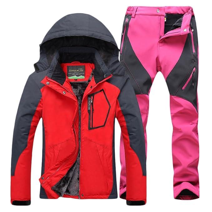 Qitun Mujer de Trekking Impermeable Deportivos Transpirable Pantalones Chaqueta de Esquí Impermeable Chaqueta de Nieve Excursionismo Conjunto: Amazon.es: ...