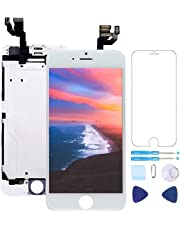 "Screen Replacement for iPhone 6 Plus Screen Replacement White 5.5"" LCD Display Touch Digitizer Frame Assembly with Proximity Sensor,Ear Speaker,Front Camera,Screen Protector,Repair Tools kit White"