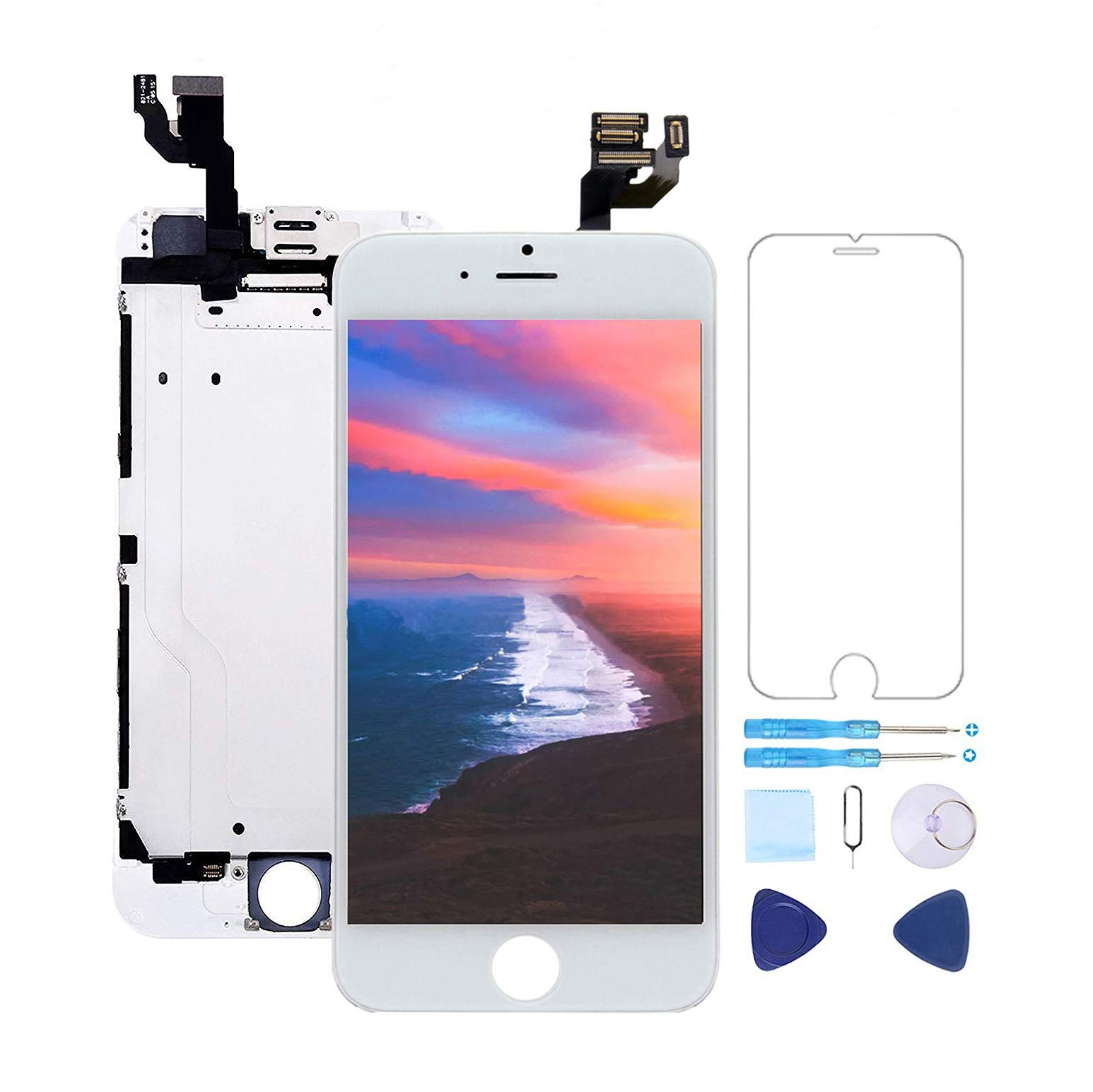 Screen Replacement for iPhone 6 Plus Screen Replacement White 5.5'' LCD Display Touch Digitizer Frame Assembly with Proximity Sensor,Ear Speaker,Front Camera,Screen Protector,Repair Tools kit White
