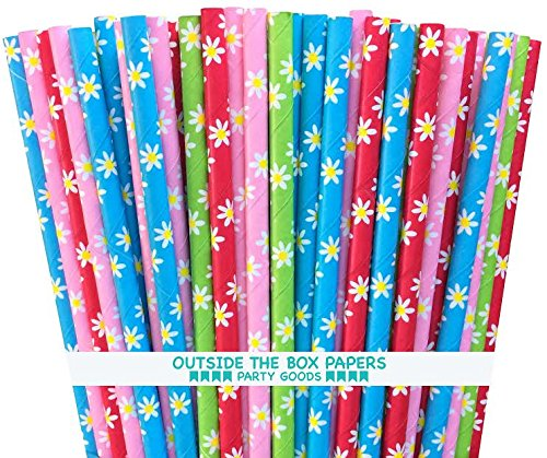 Outside the Box Papers Daisy Pattern Paper Straws 7.75 Inches 100 Pack Red, Blue, Yellow, Green, Pink, White